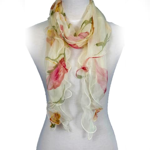 Zodaca Fashion Women Ladies Lightweight Double Layer Chiffon Floral Ruffle Summer Silk Scarf