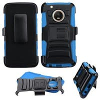 Insten Black/ Blue Advanced Armor Hard Snap-on Dual Layer Hybrid Case with Stand/ Holster For Motorola Moto G5 Plus/ X (2017)