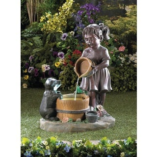 Little Girl and Pet Water Fountain