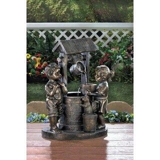 Boy and Girl Wishing Well Water Fountain