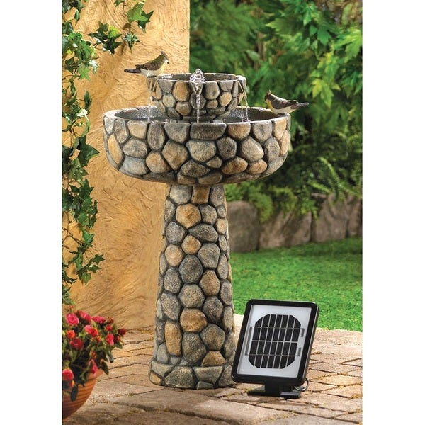 Elegant Cobblestone Two Tiered Water Fountain