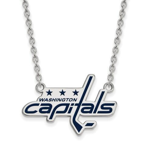 Sterling Silver NHL LogoArt Washington Capitals Large Enamel Pendant with Necklace