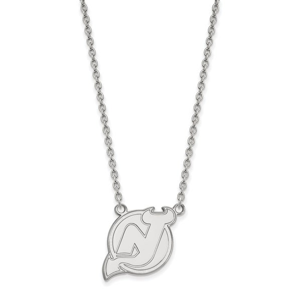 Sterling silver nhl logoart new jersey devils large pendant with sterling silver nhl logoart new jersey devils large pendant with necklace aloadofball Image collections