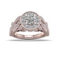 De Couer 1 1/4ct TDW Diamond Halo Ring (H-I, I2) - Pink