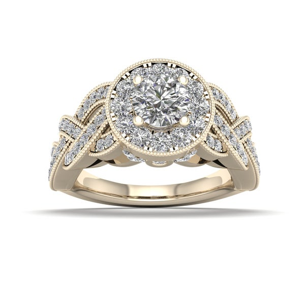 De Couer 1 1/4ct TDW Diamond Halo Ring (H-I, I2) - Yellow