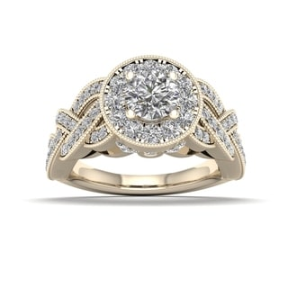 De Couer 1 1/4ct TDW Diamond Halo Ring (H-I, I2) - Yellow