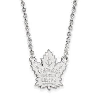Sterling Silver NHL LogoArt Toronto Maple Leafs Large Pendant with Necklace