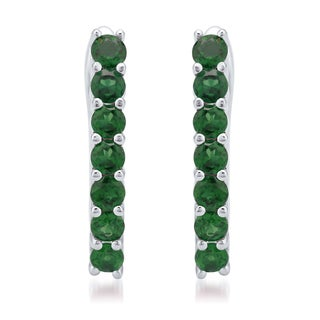 Sterling Silver Natural Chrome Diopside 180 CTW Hoop Earring