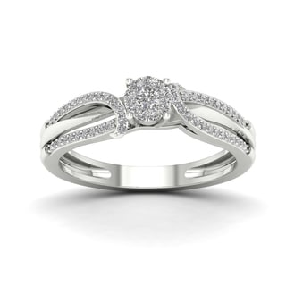 De Couer 1/5ct TDW Diamond Cluster Engagement Ring - White