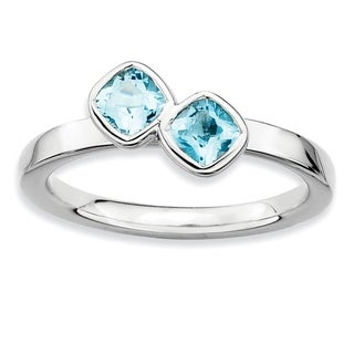 Sterling Silver Affordable Expressions Db Cushion Cut Blue Topaz Ring