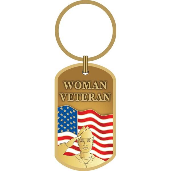 Woman Veteran USA Flag Key Ring