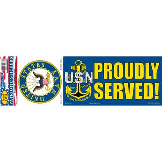 US Navy Logo Proudly Served Bumper Sticker|https://ak1.ostkcdn.com/images/products/15885970/P22292625.jpg?impolicy=medium