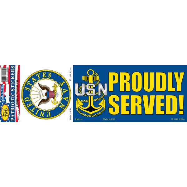 US Navy Logo Proudly Served Bumper Sticker