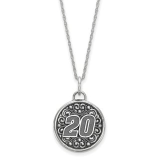 Nascar Necklace Sterling Silver Bali Type Round Pendant # 20 With 18 Inch Silver Chain