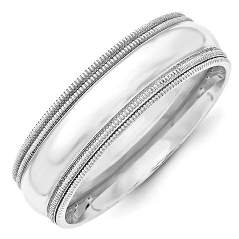 14 Karat White Gold 7mm Double Milgrain Comfort Fit Band by Versil