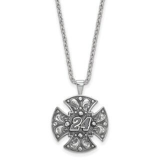 Nascar Necklace Sterling Silver Bali Maltese cross 24 With Chain