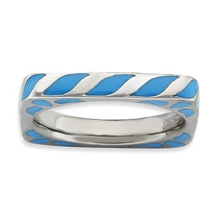 Sterling Silver Affordable Expressions Polished Blue Enameled Square Ring