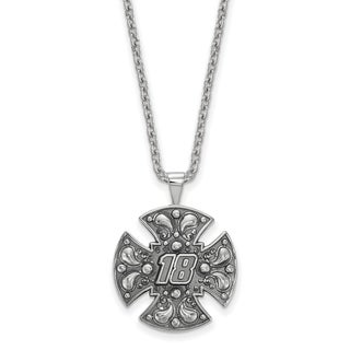 Nascar Necklace Sterling Silver Bali Maltese cross 18 With Chain