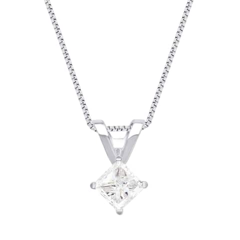 Divina 14K White and Yellow Gold 1/4ct to 1.0ct TDW Princess Solitaire Pendant comes in