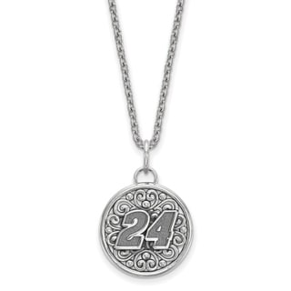 Nascar Necklace Sterling Silver Bali Type Round Pendant With 18 Inch Silver Chain