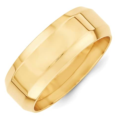 14 Karat Yellow Gold 8mm Bevel Edge Comfort Fit Band by Versil