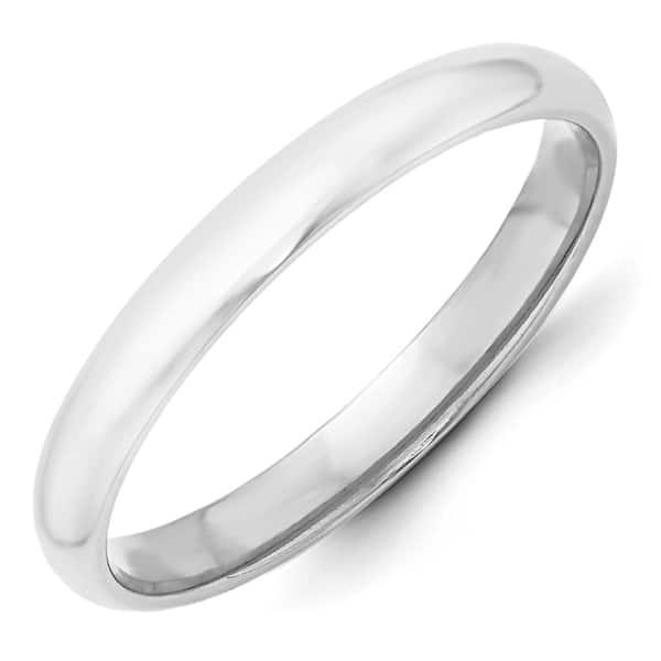 14K White Gold 3mm Half-Round Band Ring