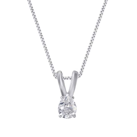 Divina 14K White Gold 1/5ct to 1/2ct TDW Pear Solitaire Pendant comes in a box.(J,I2)