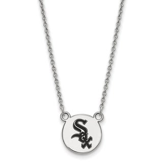 Sterling Silver Chicago White Sox Small Enamel Disc Necklace