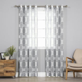 Aurora Home Sheer Faux Linen Medallion Print Curtain Panel Pair (2 options available)