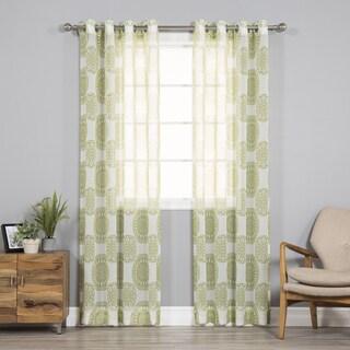 Aurora Home Sheer Faux Linen Medallion Print Curtain Panel Pair