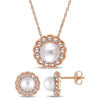 Miadora Signature Collection 10k Rose Gold Cultured Freshwater Pearl Flower Halo 2-Piece Necklace and Stud Earrings Set