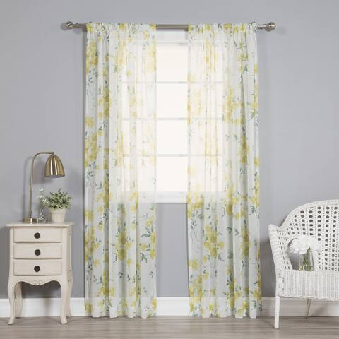 Aurora Home Watercolor Rose Sheer Curtain Panel Pair