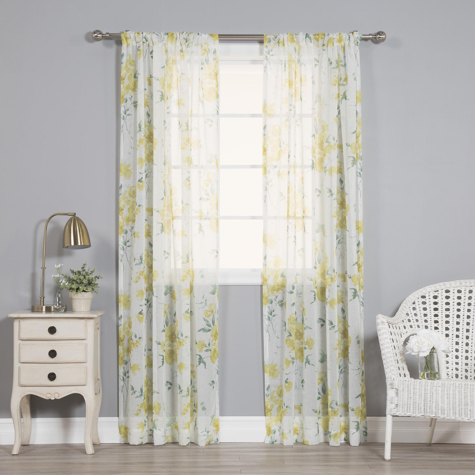 Aurora Home Watercolor Rose Sheer Curtain Panel Pair (84 ...