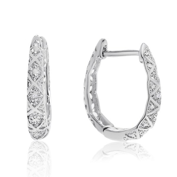 Delicately Embellished Diamond Hoop Earrings Silver Over Br 3 4 Inch
