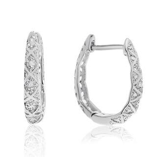 Delicately Embellished Diamond Hoop Earrings, Silver Over Brass, 3/4 Inch|https://ak1.ostkcdn.com/images/products/15888512/P22294768.jpg?impolicy=medium