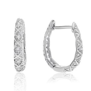 Delicately Embellished Diamond Hoop Earrings, Silver Over Brass, 3/4 Inch