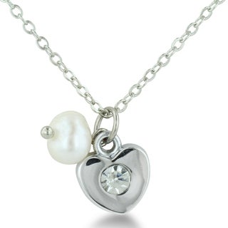 Freshwater Natural White Pearl and Heart Charm Necklace