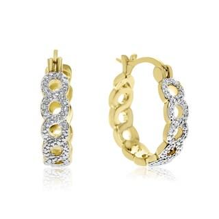 Infinity Diamond Hoop Earrings, Yellow Gold Over Brass, 3/4 Inch