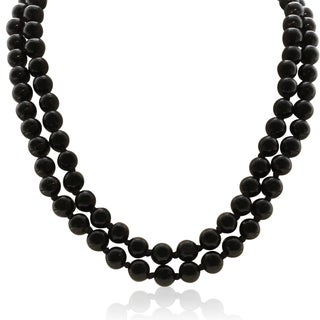 8MM Black Bead Hand Knotted Necklace, 36 Inches