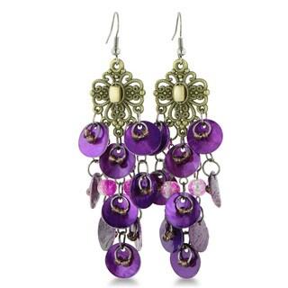 Purple Disc Beaded Chandelier Dangle Earrings