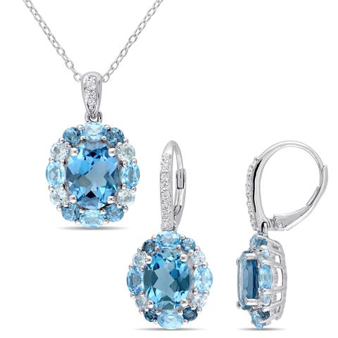 Miadora Sterling Silver London Swiss and Sky-Blue Topaz with White Topaz Cluster Halo Necklace and Earrings Set