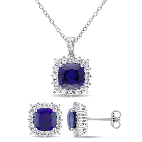 Miadora Sterling Silver Created Blue Sapphire Created White Sapphire and Diamond Square Halo Necklace and Earrings Set