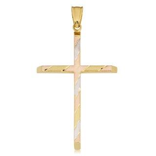"Fremada 14k Tricolor Gold Cross Pendant, 2"""
