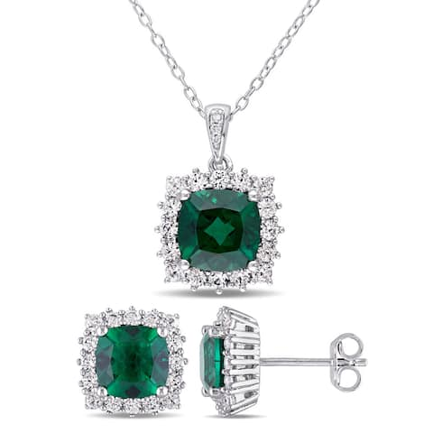 Miadora Sterling Silver Created Emerald Created White Sapphire and Diamond Square Halo Necklace and Stud Earrings Set