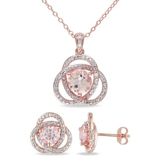 Miadora Signature Collection Rose Plated Sterling Silver Morganite and 2 1/5ct TDW Diamond Interlaced Necklace and Earrings Set
