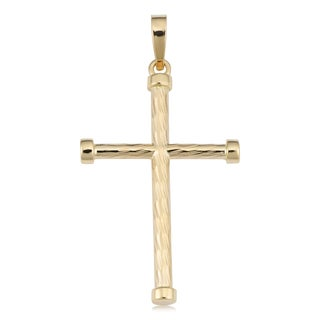 Fremada 14k Yellow Gold Diamond-cut Cross Pendant, 1.5""