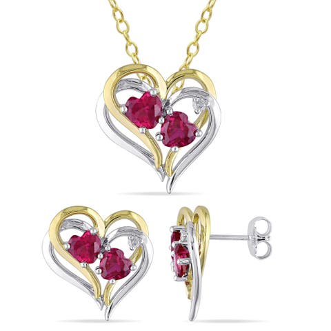 Miadora 2-Tone White and Yellow Plated Sterling Silver Created Ruby and Diamond Heart Necklace and Stud Earrings Set