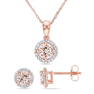 Miadora Signature Collection 10k Rose Gold Morganite and 1/6ct TDW Diamond Halo 2-Piece Necklace and Stud Earrings Set|https://ak1.ostkcdn.com/images/products/15888561/P22294802.jpg?impolicy=medium