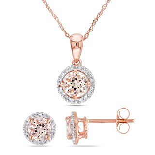 Miadora Signature Collection 10k Rose Gold Morganite and 1/6ct TDW Diamond Halo 2-Piece Necklace and Stud Earrings Set