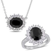 Miadora Sterling Silver Black Sapphire and Created White Sapphire 2-Piece Oval Halo Necklace and Ring Set